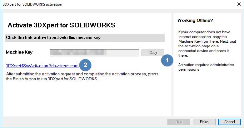 """Copie o código de ativação e volte ao SOLIDWORKS. Insira o código de ativação no 3DXpert e clique em """"next""""."""