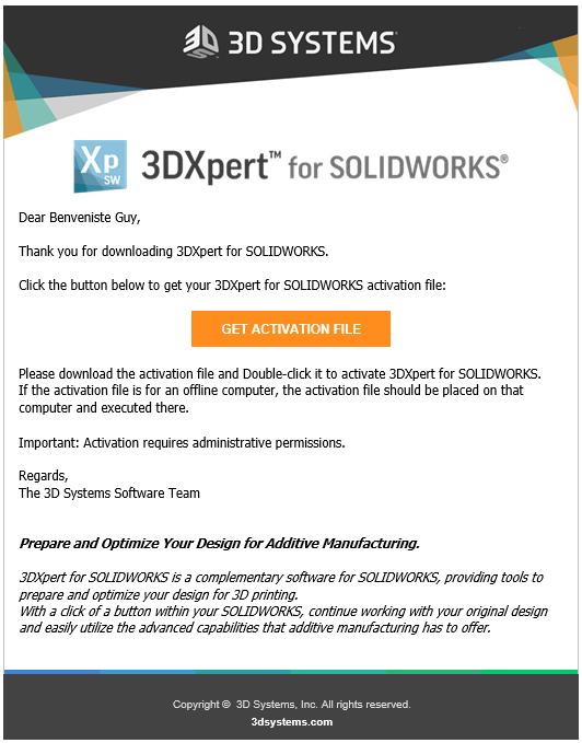 Após a criação da licença, você receberá um e-mail com o link para baixar o ativador. Clique no link e baixe-o. Antes de executa-lo feche o SOLIDWORKS.