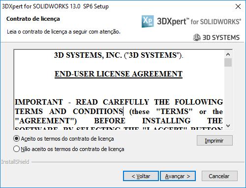 Aceite o contrato de licença e clique em avançar.